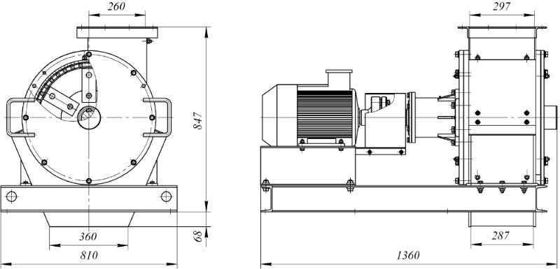 Технические характеристики (габариты) молотковой дробилки.