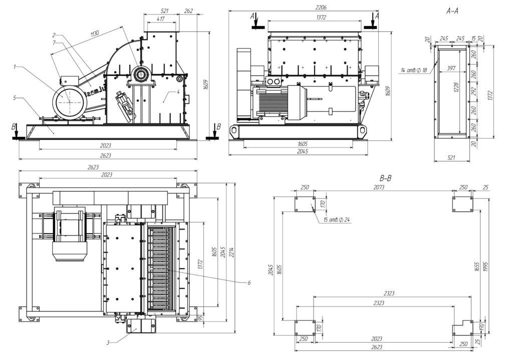 Общий вид дробилки МПС 950-Б