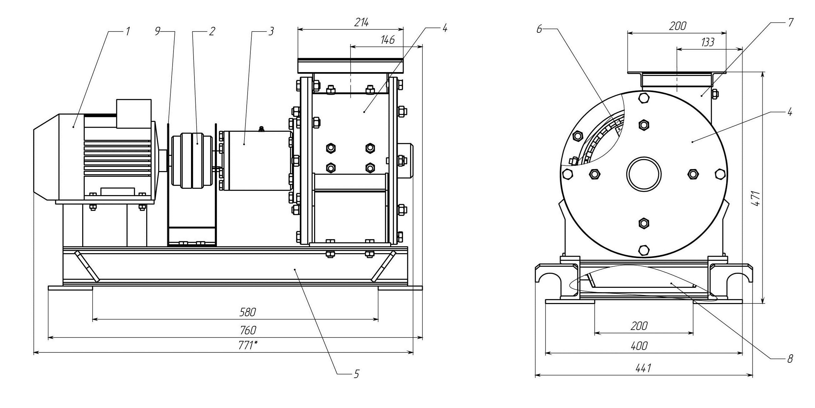 Общий вид молотковой дробилки МПС-150