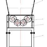 Четырехвальный шредер 1 - корпус измельчителя; 2 - бункер загрузки; 3 - ротор; 4 - опора.
