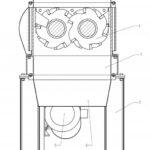 Двухвальный шредер. 1 - рама измельчителя; 2 - опора; 3 - бункер  загрузки; 4 - ротор; 5 - электродвигатель; 6 - выгрузка.