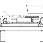 Одновальный шредер 1 - корпус шредера; 2 - рама; 3 - опора; 4 - ротор; 5 - бункер загрузки.