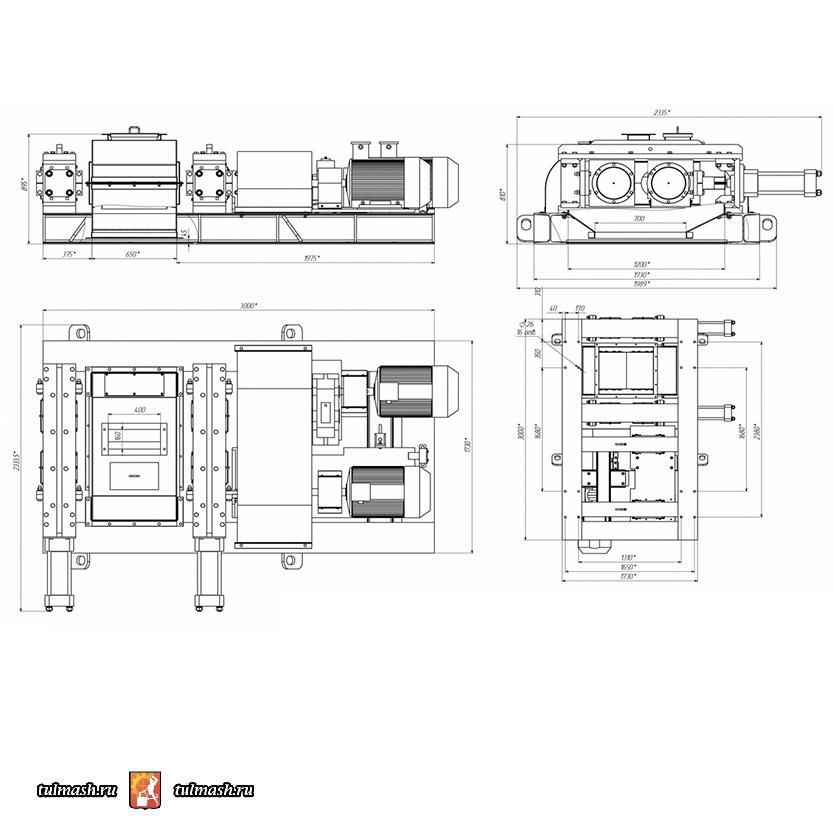 Валковая дробилка ДВГ 2х450х500